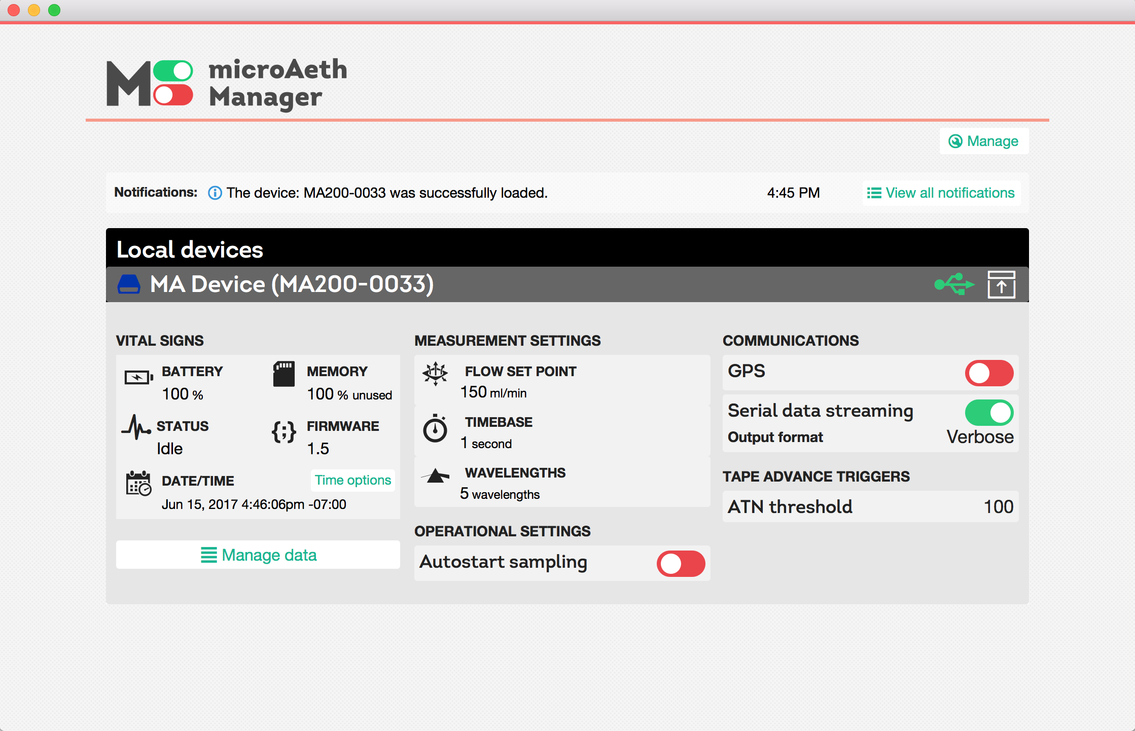 microAeth Manager screenshot